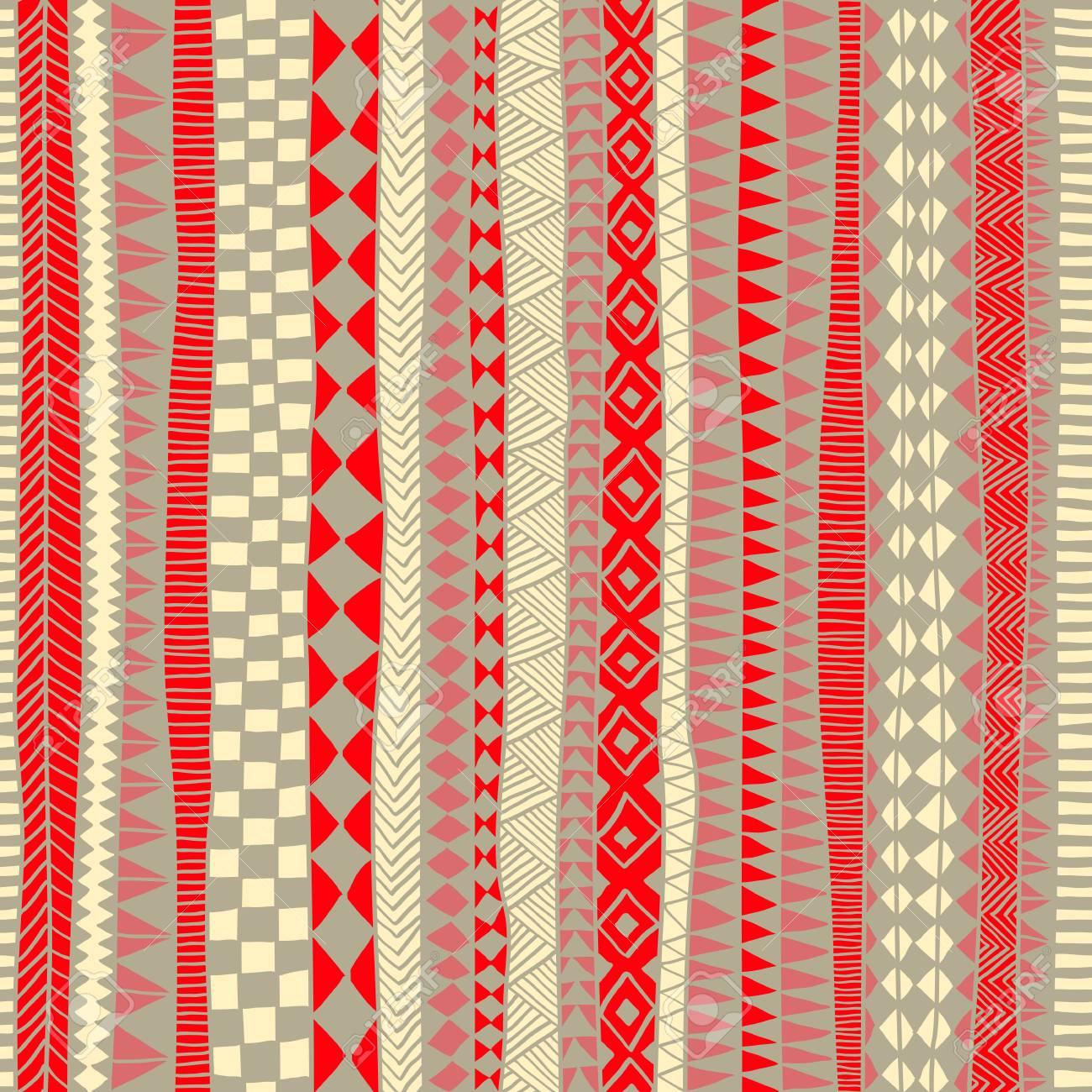 Seamless tribal pattern. Vertical orientation. Striped print for textiles. Red, white and gray colors. Vector illustration.